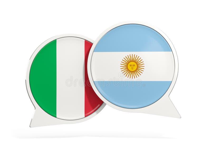 Flaggor av Italien och Argentina inom pratstundbubblor royaltyfri illustrationer