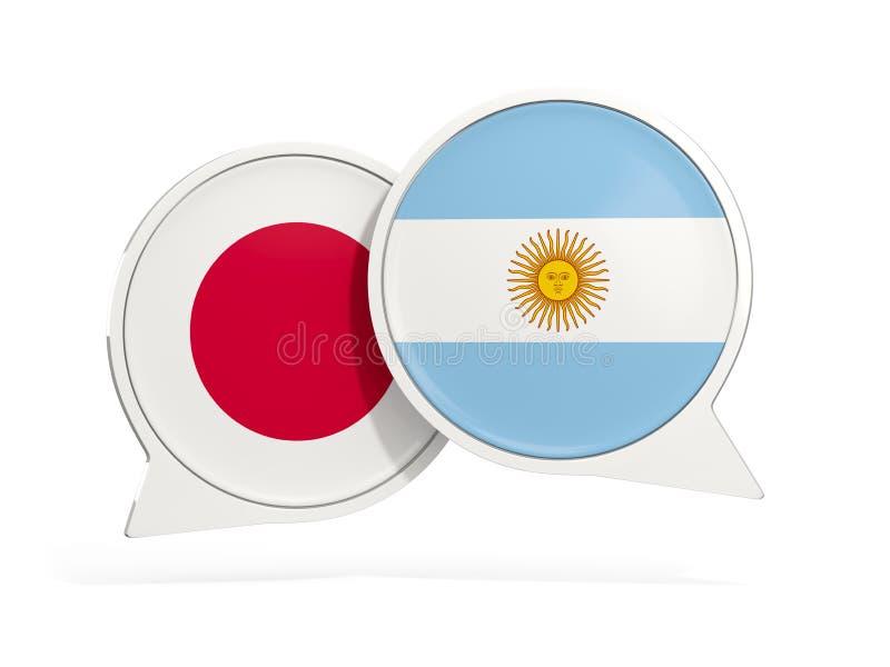 Flaggor av Japan och Argentina inom pratstundbubblor royaltyfri illustrationer