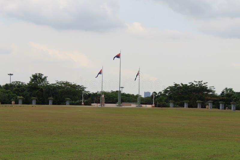 Flaggor av Johor i öppet område royaltyfria bilder