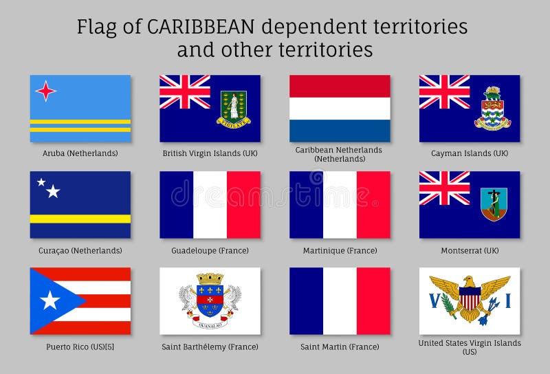 Flaggor av karibiska beroende territorier stock illustrationer