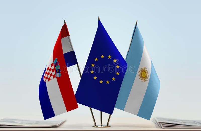 Flaggor av Kroatien EU och Argentina royaltyfri fotografi