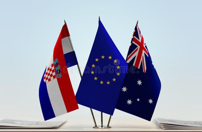 Flaggor av Kroatien EU och Australien arkivbild