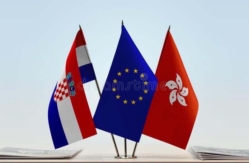 Flaggor av Kroatien EU och Hong Kong royaltyfri fotografi