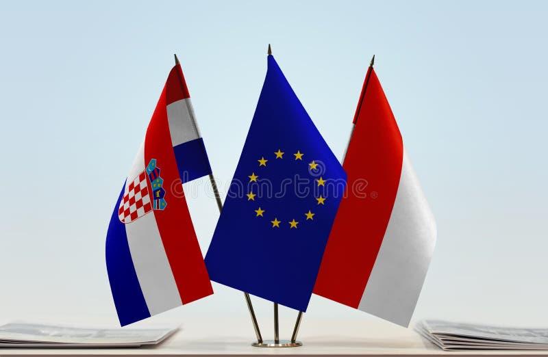 Flaggor av Kroatien EU och Indonesien arkivfoton