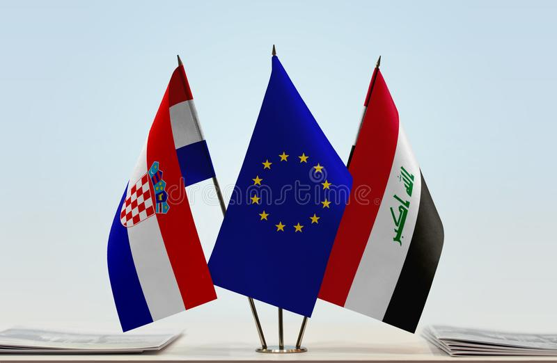 Flaggor av Kroatien EU och Irak arkivbilder