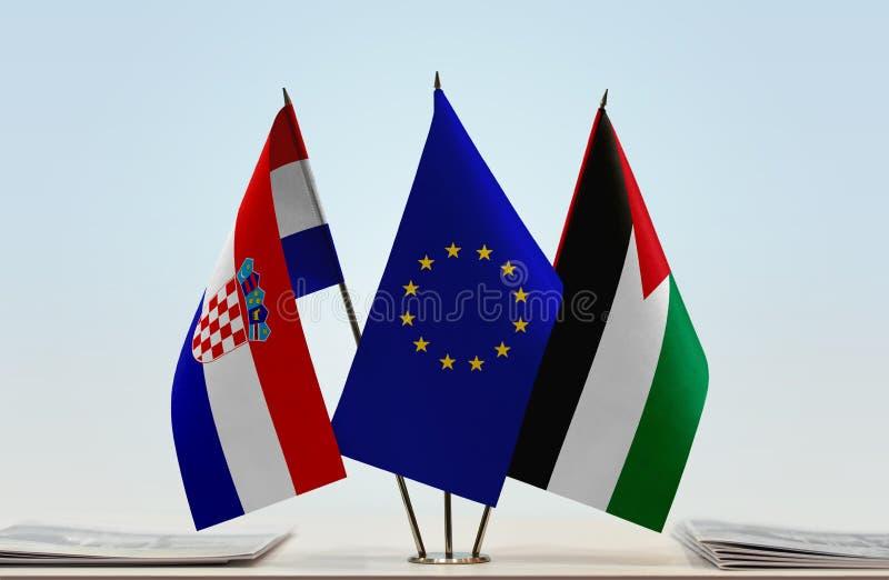 Flaggor av Kroatien EU och Palestina arkivbild