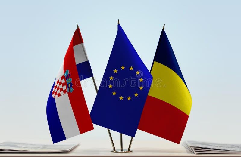 Flaggor av Kroatien EU och Tchad royaltyfria bilder