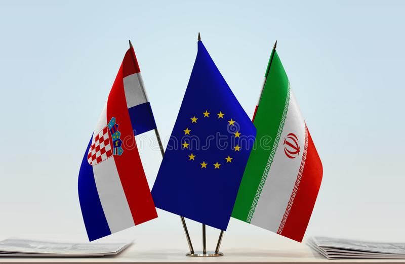 Flaggor av KroatienEU och Iran royaltyfri foto