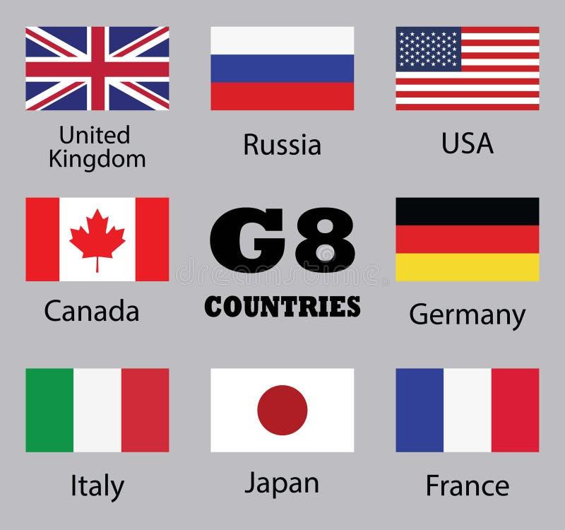 Flaggor av länder G8 vektor illustrationer