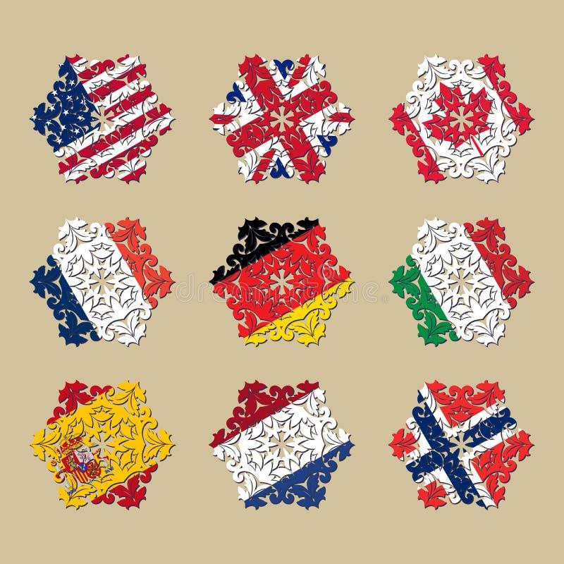 Flaggor av länder i form av en snöflinga stock illustrationer