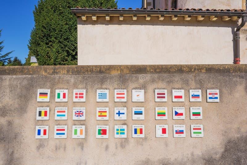 Flaggor av länderna av den europeiska unionen fotografering för bildbyråer