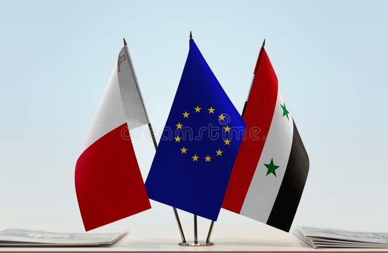 Flaggor av Malta EU och Syrien royaltyfri bild