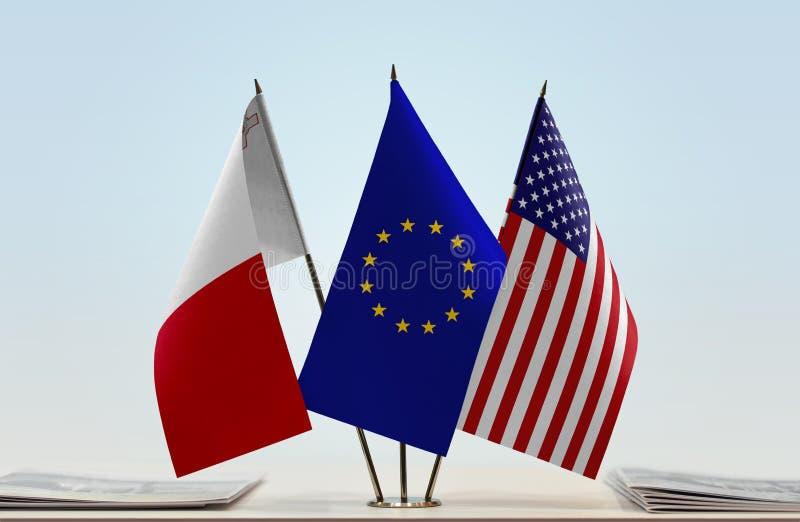 Flaggor av Malta EU och USA fotografering för bildbyråer
