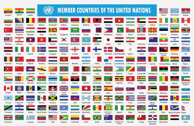 Flaggor av medlemländer av Förenta Nationerna vektor illustrationer