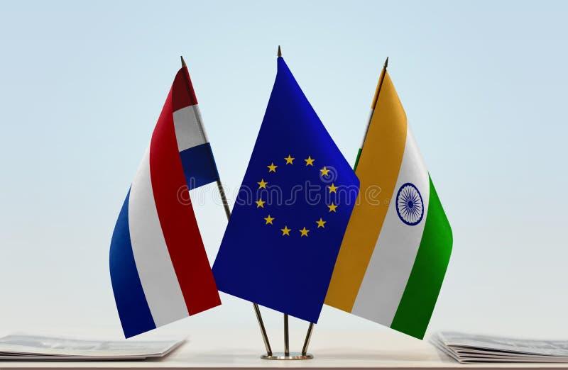 Flaggor av Nederländerna EU och Indien royaltyfri bild