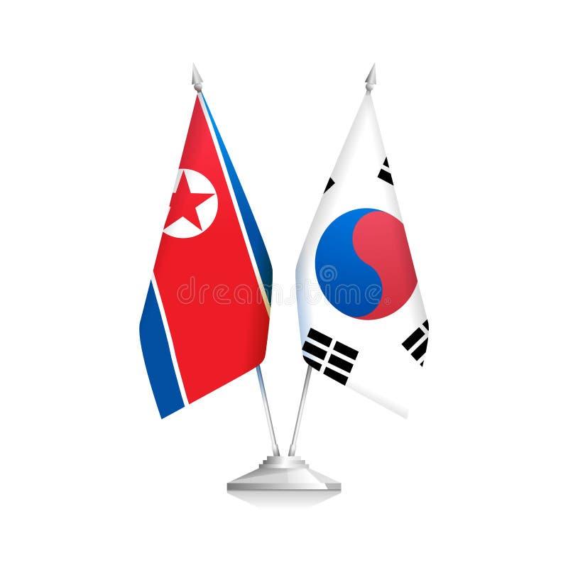Flaggor av Nordkorea och Sydkorea politik vektor illustrationer