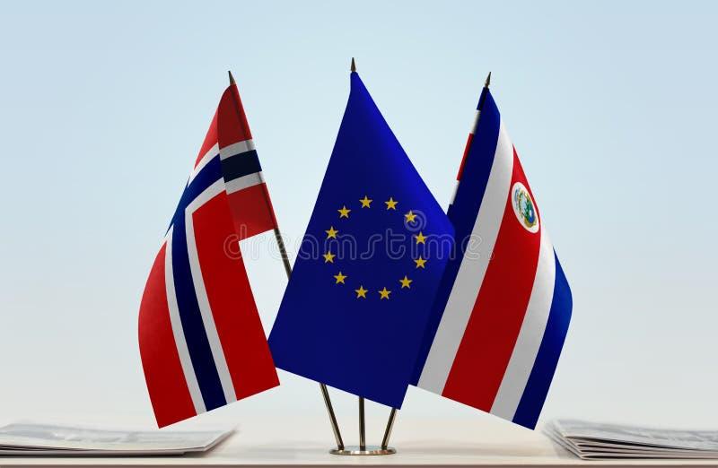 Flaggor av Norge EU och Costa Rica arkivfoto