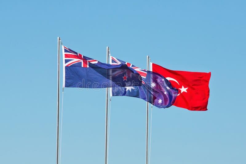 Flaggor av Nya Zeeland, Australien och Turkiet royaltyfri fotografi