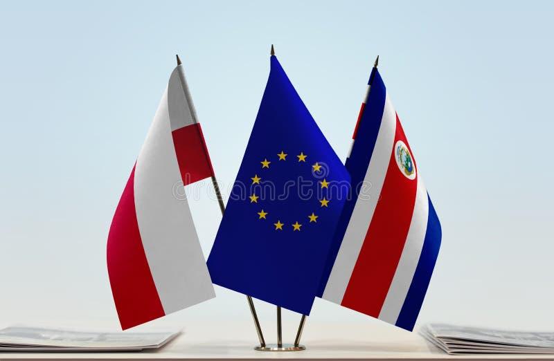 Flaggor av Polen EU och Costa Rica arkivfoto