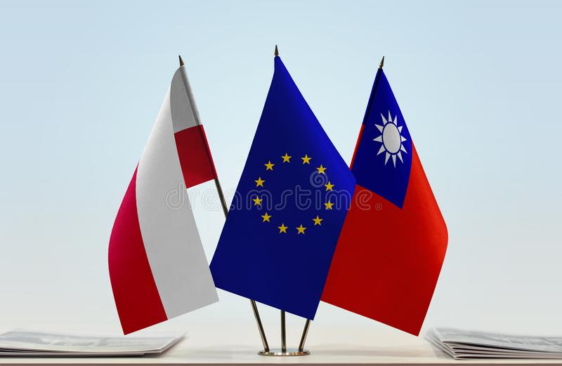 Flaggor av Polen EU och Taiwan stock illustrationer