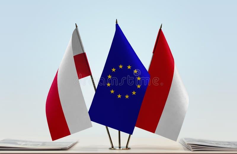 Flaggor av Polen europeisk union och Monaco stock illustrationer