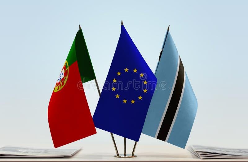Flaggor av Portugal EU och Botswana fotografering för bildbyråer