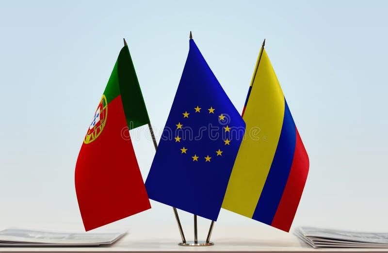 Flaggor av Portugal EU och Colombia royaltyfria bilder