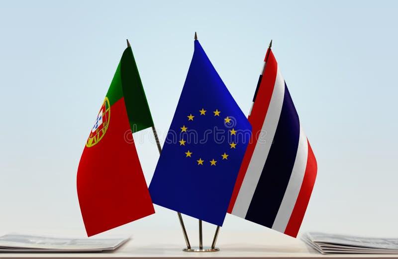 Flaggor av Portugal EU och Thailand fotografering för bildbyråer