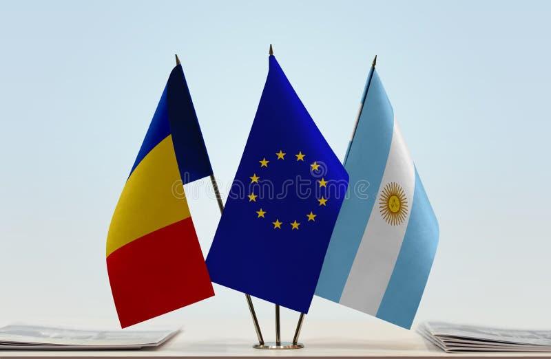 Flaggor av Rumänien EU och Argentina arkivfoton