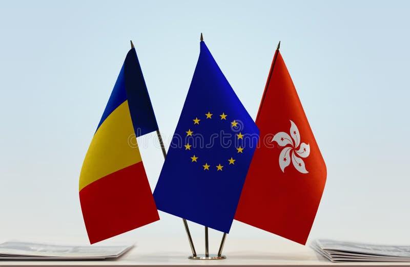 Flaggor av Rumänien EU och Hong Kong royaltyfri foto