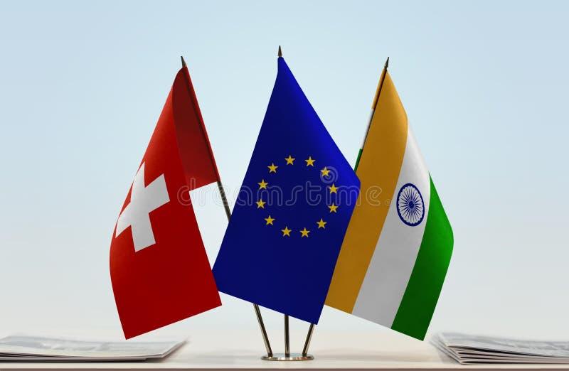 Flaggor av Schweiz EU och Indien royaltyfri foto
