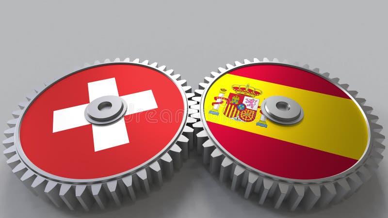 Flaggor av Schweiz och Spanien på att koppla ihop kugghjul Begreppsmässig tolkning 3D för internationellt samarbete vektor illustrationer
