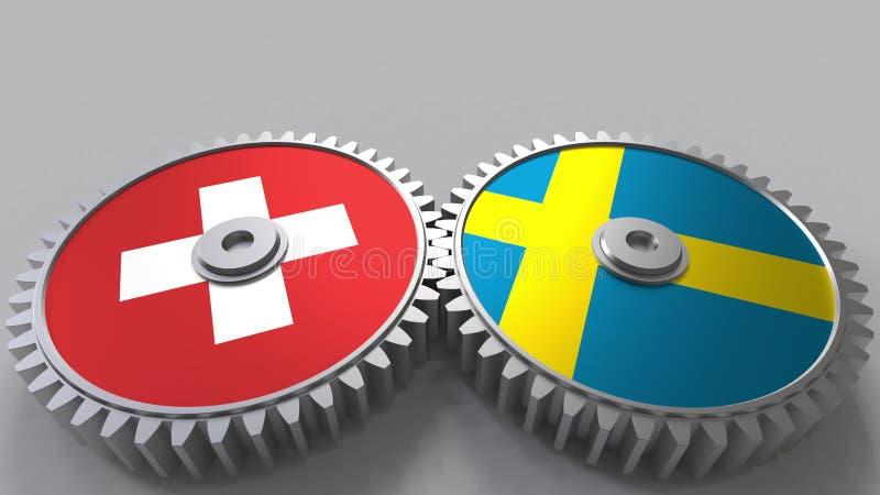 Flaggor av Schweiz och Sverige på att koppla ihop kugghjul Begreppsmässig tolkning 3D för internationellt samarbete stock illustrationer