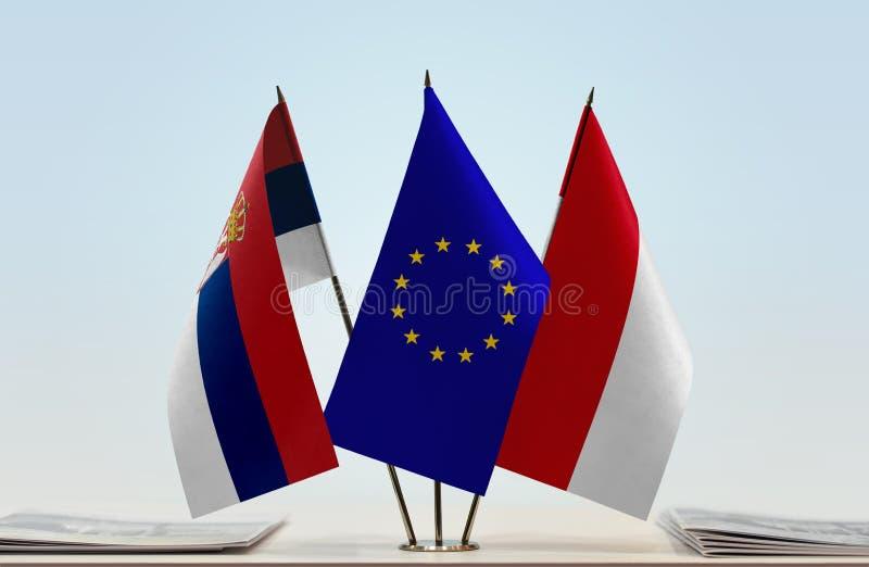 Flaggor av Serbien europeisk union och Monaco royaltyfri illustrationer