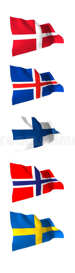 Flaggor av Skandinavien stock illustrationer