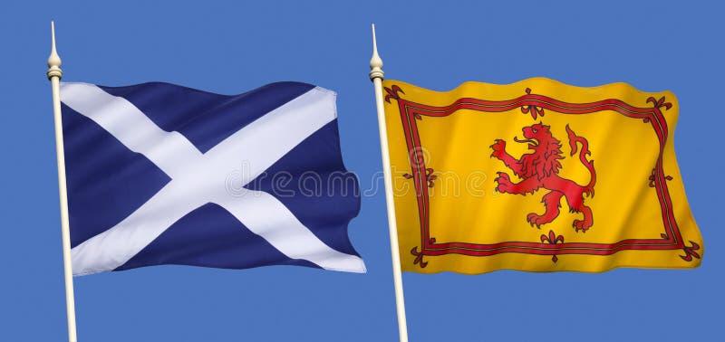 Flaggor av Skottland arkivbild