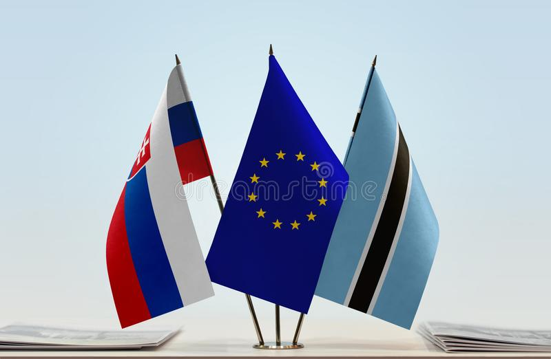 Flaggor av Slovakien EU och Botswana royaltyfri foto