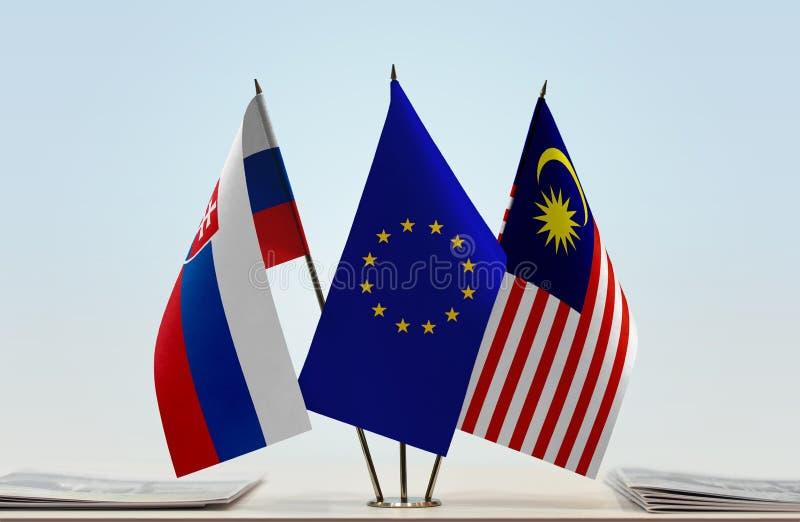 Flaggor av Slovakien EU och Malaysia royaltyfri foto