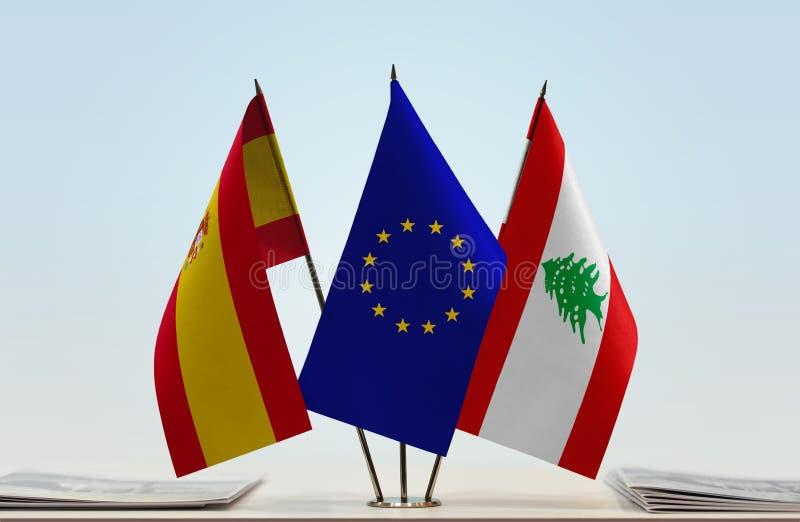 Flaggor av Spanien EU och Libanon royaltyfri illustrationer