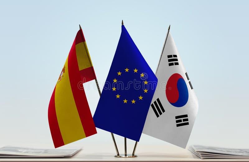 Flaggor av Spanien EU och Sydkorea royaltyfria bilder