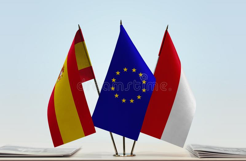 Flaggor av Spanien europeisk union och Monaco royaltyfri illustrationer
