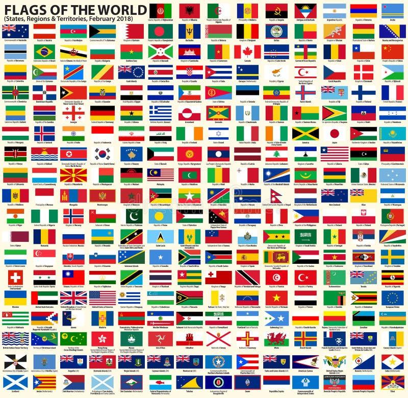 Flaggor av suveräna stater, regioner och territorier stock illustrationer