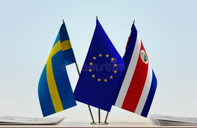 Flaggor av Sverige EU och Costa Rica royaltyfri fotografi