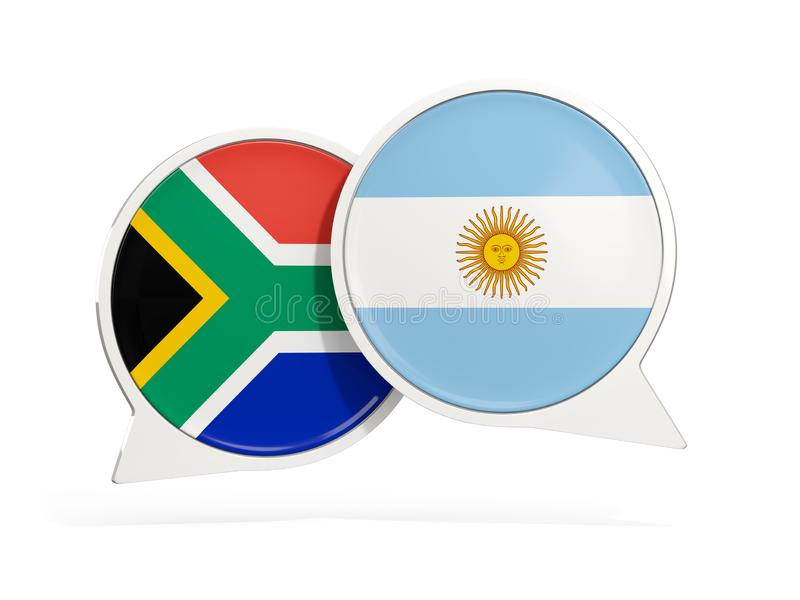 Flaggor av Sydafrika och Argentina inom pratstundbubblor vektor illustrationer