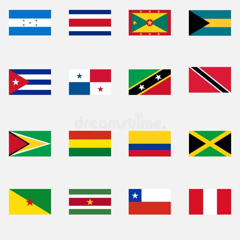 Flaggor av tillstånden av Latinamerika stock illustrationer