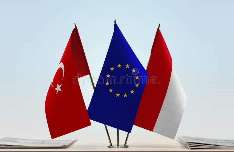 Flaggor av Turkiet europeisk union och Monaco stock illustrationer