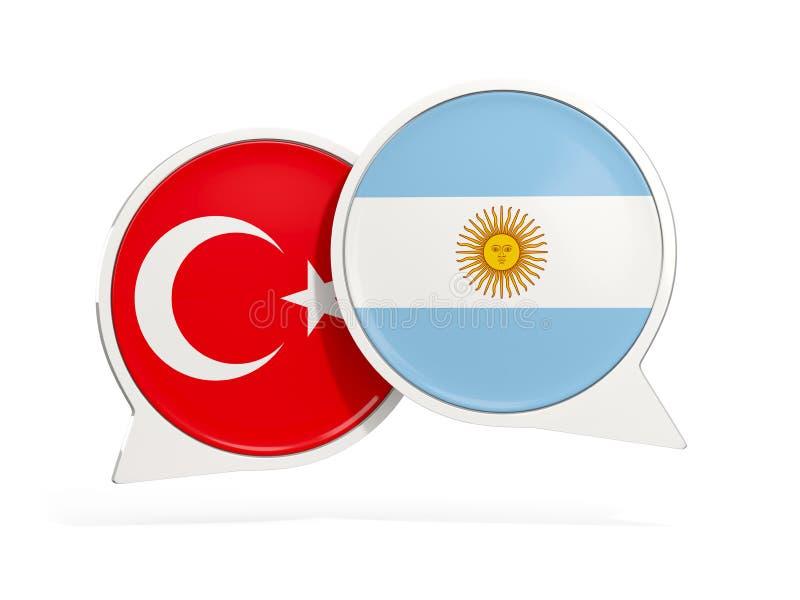 Flaggor av Turkiet och Argentina inom pratstundbubblor stock illustrationer