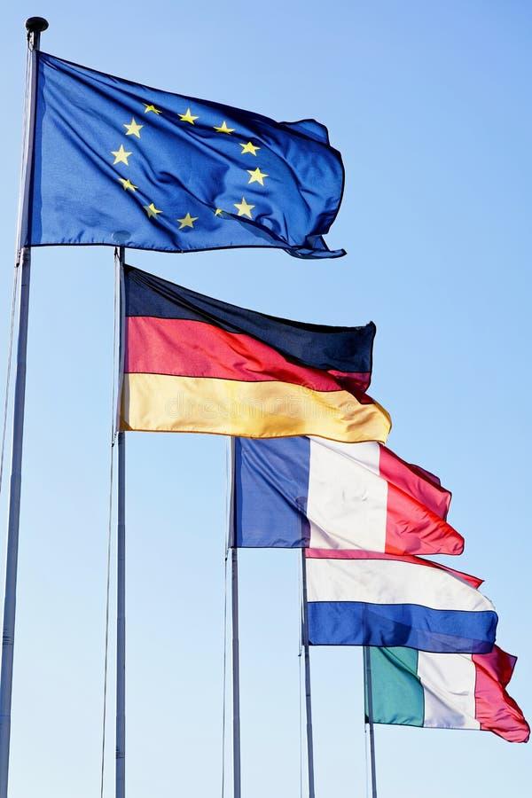 Flaggor av Tyskland Frankrike Italien för europeisk union royaltyfria bilder