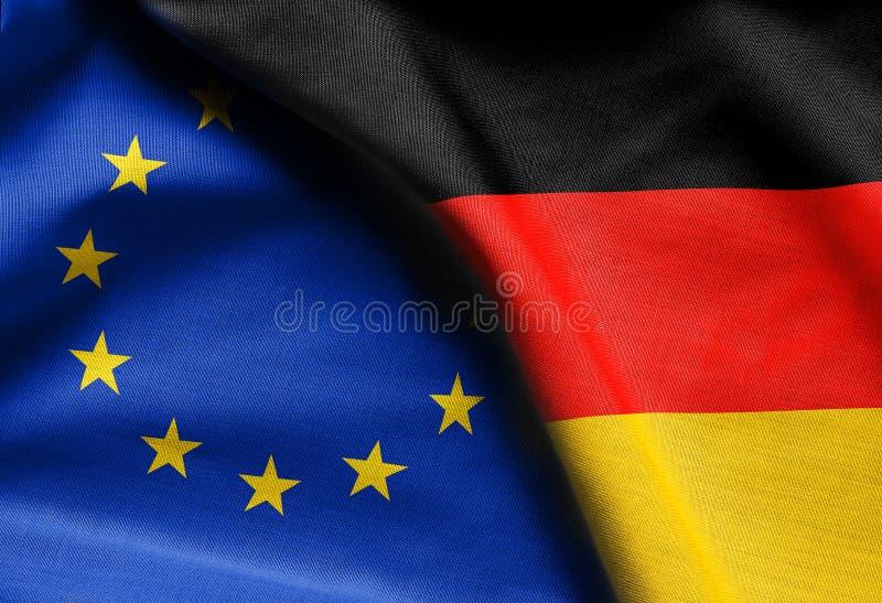 Flaggor av Tyskland och europeisk union royaltyfri foto