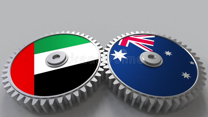 Flaggor av UAE och Australien på att koppla ihop kugghjul Begreppsmässig tolkning 3D för internationellt samarbete stock illustrationer